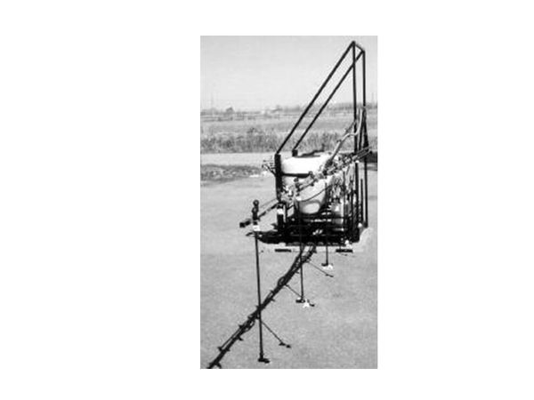 T130-OS10 - Tractor mounted offset boom, holds one 30gal. tank and ten 3 liter containers