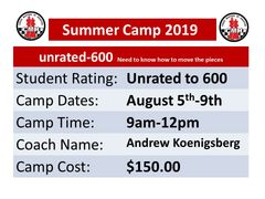 Chess Summer Camp August 5th to 9th, 2019