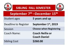 Sibling Fall Semester fee for Chess Masters of Houston