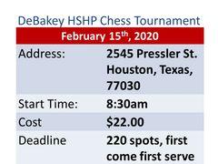 DeBakey HSHP Chess Tournament February 15th, 2020