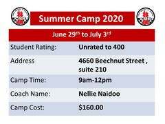 Summer chess beginner Camp June 29th to July 3rd, 9am to 12pm