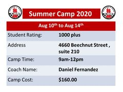 Summer camp for advance students August 10th to Aug 14th , 9am to 12pm