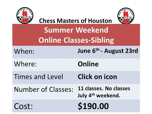 Summer Weekend Chess Classes, Sibling