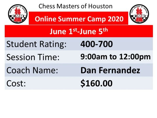 Online Summer camp for intermediate students on June 1st to 5th,2020