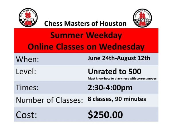 Online Summer Chess Classes on Wednesday