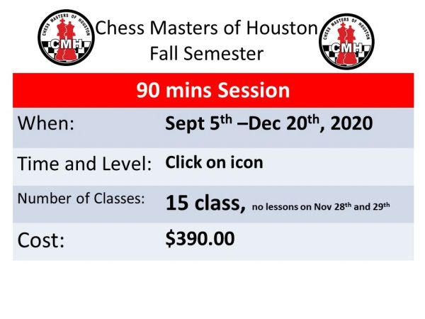 Fall semester session Sept 5th-Dec 20th, 2020