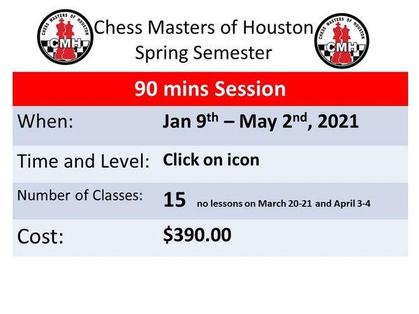 Spring semester Jan 9th to May 2nd 2021