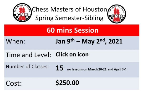 Spring semester Sibling discount only for 60 minutes