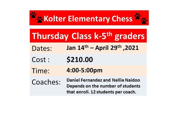 after school chess program with Kolter Elementary