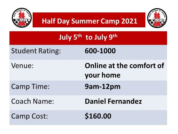 Online half day Summer camp for Intermediate students July 5th-9th,2021