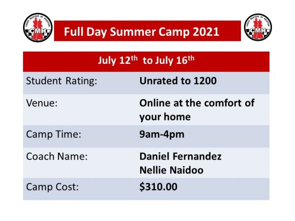 Online full day Summer camp for unrated to 1200 July 12th to July 16th, 2021 from 9am to 4pm