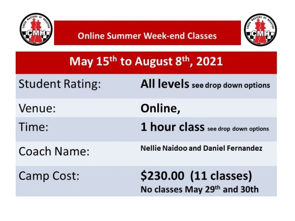 Online Summer Week end Classes May 15th to August 8th, 2021