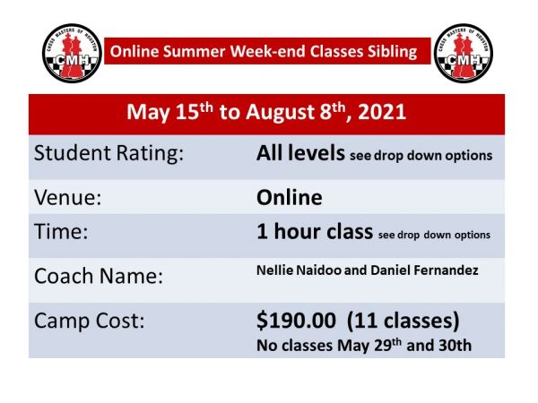 Online summer week-end classes May 15th to August 8th, 2021 sibling discount