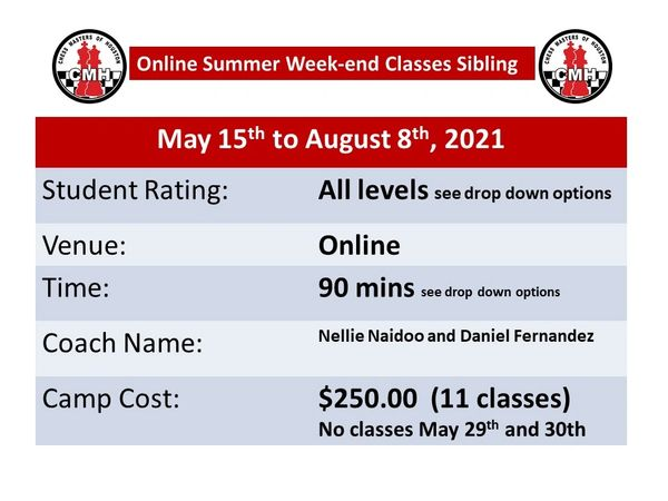Summer weekend classes Sibling discount for 90 minutes