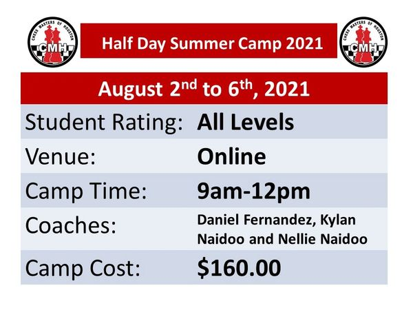 Online half day Summer camp for students of all levels August 2nd to 6th, 2021