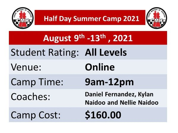 Online half day Summer camp for students of all levels Aug 9th -13th, 2021