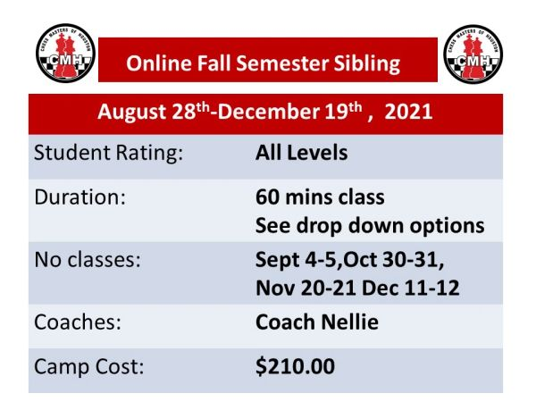Fall semester 2021 Sibling discount for 60 minutes
