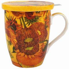 """Tea Mug w/Infuser and Lid Van Gogh """"Sunflowers"""""""