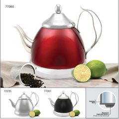 Nobili-Tea 2.0 Qt Stainless Steel Tea Kettle with Infuser Basket - Metallic Cranberry
