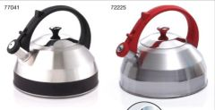 Steppes 2.8 Qt Heavy Gauge Stainless Steel Whistling Tea Kettle with Capsulated Bottom - Black Handle