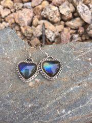 Made to Order - Labradorite Heart Twist Trim Dangle Earrings
