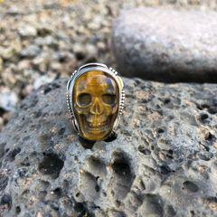 Unisex Tiger Eye Skull Ring