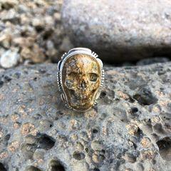 Unisex Sanstone Jasper Skull Ring