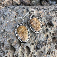 Sandstone Jasper Skull Dangle Earrings