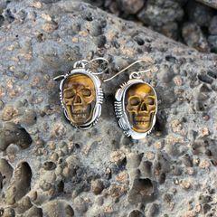 Tiger Eye Skull Dangle Earrings