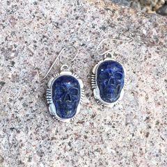 Lapis Skull Dangle Earrings