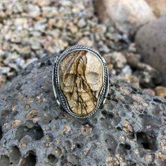 Men's Big & Bold Sandstone Jasper Skull Ring