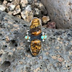 Two Stone Tiger Eye Skull and Turquoise Ring