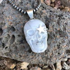 Ex-Large Howlite Skull Rock Star Pendant