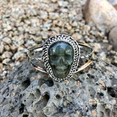 Labradorite Skull Double Spiral and Twist Bracelet