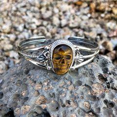 Tiger Eye Skull Stamped Concho Bracelet