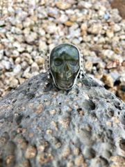 Unisex Labradorite Skull Stamped Concho Ring