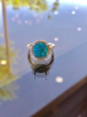 Custom 14K Natural Water Web Kingman Turquoise & Diamond Ring