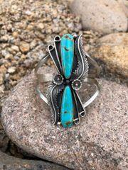 Large 2 Stone Tear Drop Kingman Turquoise Bracelet with Leaf, Flower & Scroll Design