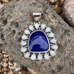 Unique! Lapis & Moonstone Cluster Pendant