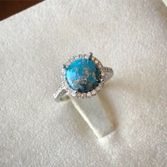 Custom 14K Natural Persian Turquoise & Diamond Ring