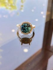 Custom 14K Natural Kingman Turquoise & Diamond Ring