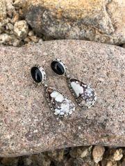 Two Stone Black Onyx & Wild Horse Dangle Earrings