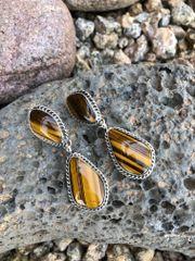 Two Stone Tiger Eye Dangle Earrings