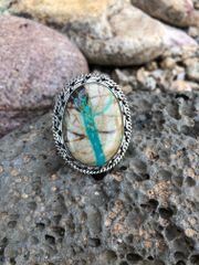 Large Boulder Ribbon Turquoise Ring