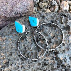Kingman Turquoise Studs With Dangle Spiral Hoops