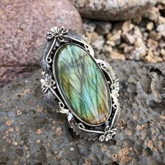 On Hold for jo.hnnie723- Ex-Large Labradorite Leaf and Feather Ring