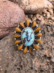 Golden Hill Turquoise & Tiger Eye Cluster Ring