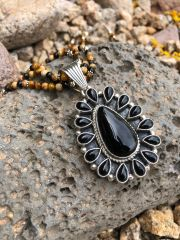 Solid Black Onyx Cluster Pendant on Beaded Necklace