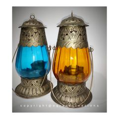 Vintage hanging colorful lamps