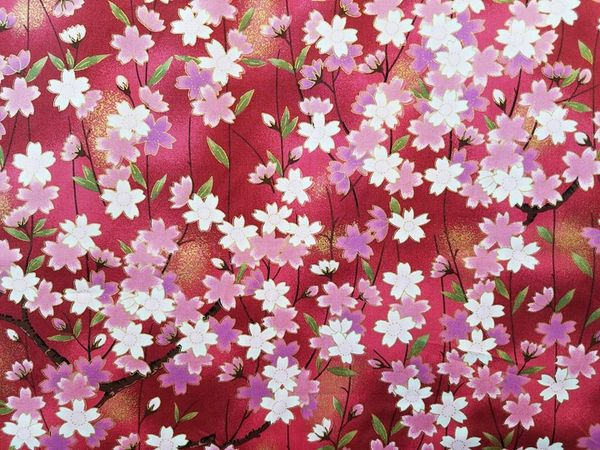 M'doridori Fabric Gift Wrap in Red Sakura Cherry Blossoms